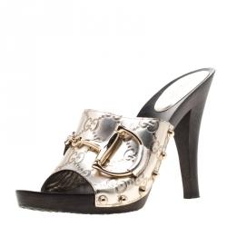 345b68d84 Gucci Metallic Gold Guccissima Leather Horsebit Mules Size 36.5