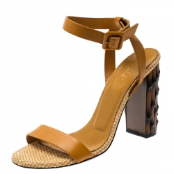 16b8eeb33b Gucci Marigold Leather Dahlia Bamboo Heel Ankle Strap Sandals Size 37.5