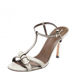 e6af08b02 Gucci Off White Guccissima Leather Buckle Detail T Strap Open Toe Sandals  Size 38