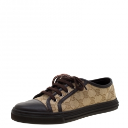 c6a65880e Gucci Brown Leather And Monogram Canvas Lace Up Sneakers Size 37