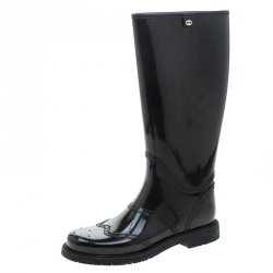 5cc02c71 Gucci Black Rubber Aberdeen Brogue Detail Mid Calf Rain Boot...