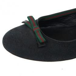 Gucci Black Guccissima Canvas Bow Ballet Flats Size 38