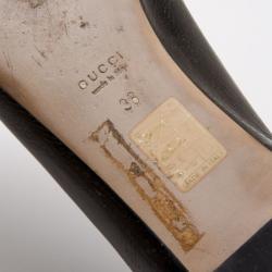 Gucci Black Patent 'Interlocking' Buckle Ballet Flats Size 38