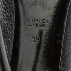 Gucci Black Leather 'Techno Horsebit' Peep Toe Slingback Sandals Size 39