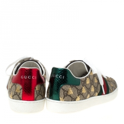 Gucci Brown/Beige GG Supreme Canvas Ace Bee Lace Up Sneakers Size 38.5
