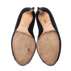 Gucci Black GG Suede Horsebit Peep Toe Pumps Size 39.5
