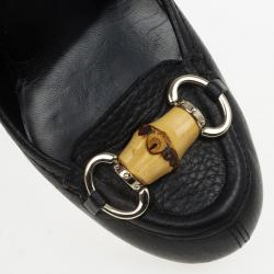 Gucci Black Leather 'Miss Bamboo' Horsebit Loafer Pumps Size 37
