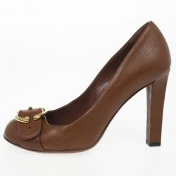 Gucci Brown Leather 'Ride' GG Buckle Pumps Size 36.5