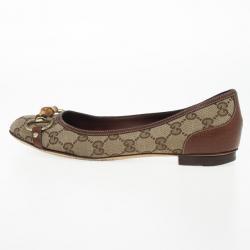 """Gucci Guccissima Canvas """"Bamboo"""" Horsebit Ballet Flats Size 38"""