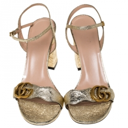 Gucci Metallic Gold Leather GG Ankle Strap Block Heel Sandals Size 38