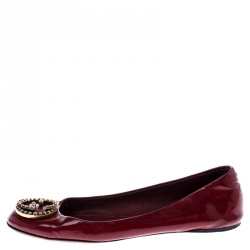 Gucci Red Leather Studded Interlocking GG Ballet Flats Size 36.5