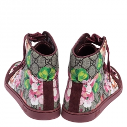 Gucci Multicolor GG Floral Canvas And Suede Leather High Top Sneakers Size 39.5
