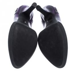Gucci Purple/Black Leather Brogue Cap Toe Platform Pumps Size 36.5
