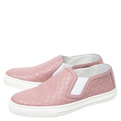 Gucci Pink Microguccisima Leather Slip On Sneakers 35.5