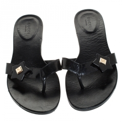 Gucci Black Patent Leather Thong Slipper Sandals Size 38