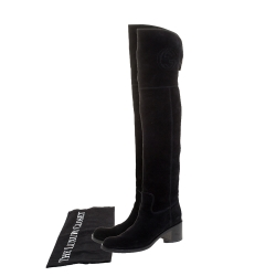 Gucci Black Suede GG Knee Length Boots Size 39