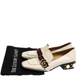 Gucci White Leather Peyton GG Sylvie Pearl Studded Loafer Size 39