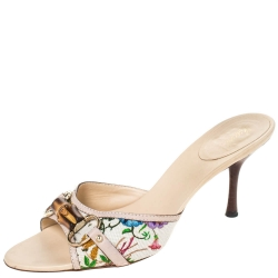 Gucci Multicolor Floral Canvas Bamboo Horsebit Slides Size 40