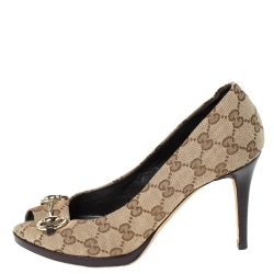 Gucci Beige GG Canvas New Hollywood Horsebit Peep Toe Pumps Size 38.5