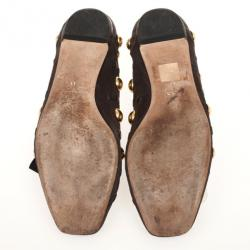 Gucci Brown Suede 'Babouska' Studded Ballet Flats Size 38