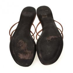 Gucci Brown Leather GG Cage Flat Thong Sandals Size 38.5