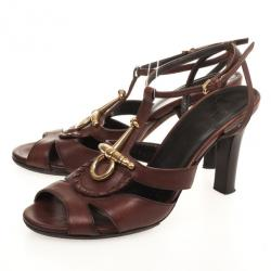Gucci Brown Leather T-Strap Sandals Size 36