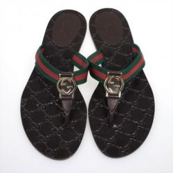 Gucci Brown 'GG' Thong Web Detail Sandals With Double 'G' Ornament Size 38.5