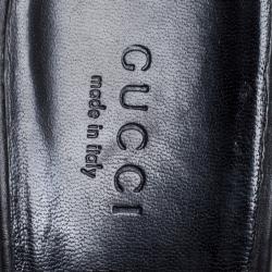 Gucci Black Leather Horsebit Mule Slide Sandals Size 38