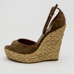 fe52cafbde3 Gucci Brown Suede Woven Jute Peep Toe Platform Wedge Sandals Size 39