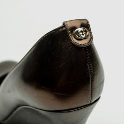 Gucci Brown Metallic 'Charlene' Wedges Size 38