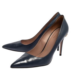 Gucci Blue Leather Adina Horsebit Pointed Toe Pumps Size 39