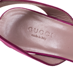 Gucci Pink Suede Horsebit Platform Ankle Strap Wedge Sandals Size 36.5