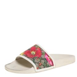 Gucci Multicolor Coated Canvas GG Blooms Supreme Slide Sandals Size 39