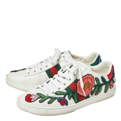 Gucci White Floral Embroidered Leather Ace Low Top Sneakers Size 36.5