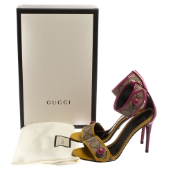Gucci Multicolor GG Supreme Canvas And Patent Leather Harleth Sandals Size 35