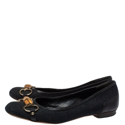 Gucci Black GG Canvas And Leather Trim Bamboo Horsebit Flats Size 39