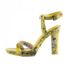 Gucci Yellow Flora Canvas Ankle Strap Sandals Size 38