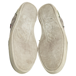 Gucci Green Leather And Brown/Beige GG Supreme Canvas Low Top Sneakers Size 38