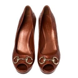 Gucci Brown Guccissima Leather Horsebit Peep Toe Pumps Size 40