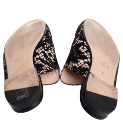 Gucci Black/Pink Lace Princetown Mules Sandals Size 41