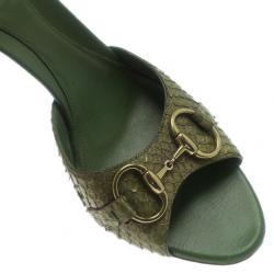 Gucci Green Python Horsebit Slides Size 39