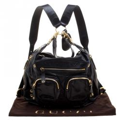 Gucci Black Leather Medium Darwin Convertible Backpack