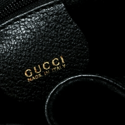 Gucci Black Suede and Leather Mini Bamboo Handle Backpack Bag