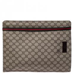 Gucci Beige GG Supreme Canvas Portfolio Document Case