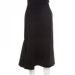 53b304bc93ee Guy Laroche Couture Black Wool Flared Skirt L