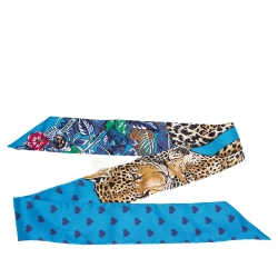 Hermes Blue Jungle Love Print Silk Twilly