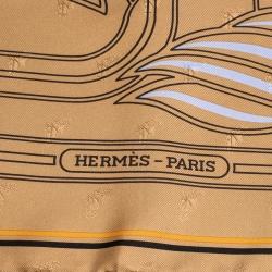 Hermes Brown Quadrige Au Fil Silk Square Scarf