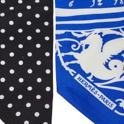 Hermes Blue & Black Astrologie a Pois Silk Twilly Scarf