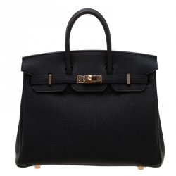 Hermes Black Togo Leather Rose Gold Hardware Birkin 25 Bag
