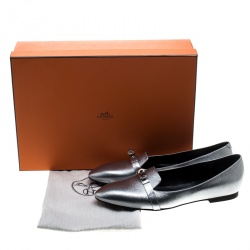 Hermes Metallic Silver Leather Pegase Mini Kelly Buckle Ballet Flats Size 38